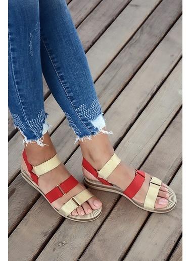 Pembe Potin A201-19 Kadın Sandalet Kırmızı